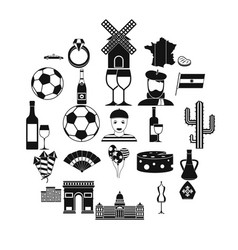 Spreel icons set simple style vector