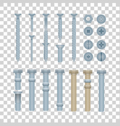 Steel bolts with nuts and screws set vector