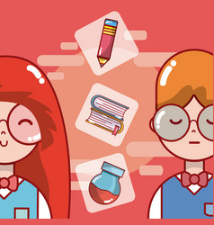 students and school cartoons vector image