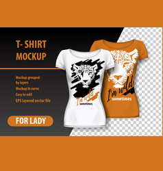 T-shirt mockup with leopard and funny phrase in vector