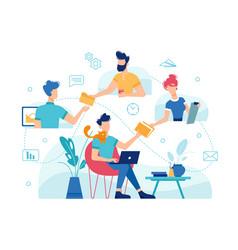 Teamwork online work management home office vector