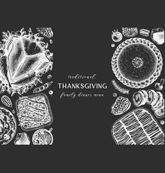 thanksgiving dinner menu design on chalkboard vector image