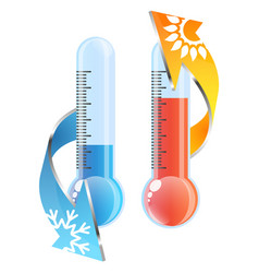 Thermometer sun and snowflake air conditioner vector