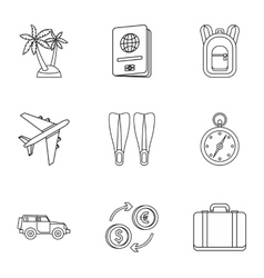 Tourism at sea icons set outline style vector