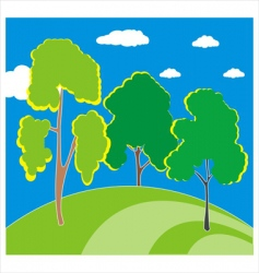 trees on the hill vector image