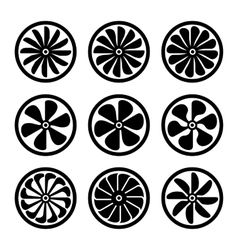 Turbines Icons Set Turbojet Engine Power vector