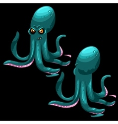 Two octopuses on a black background two sides vector image