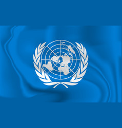 United nations flag blowing in wind isolated vector