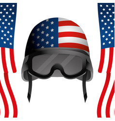 United state flag with military helmet vector