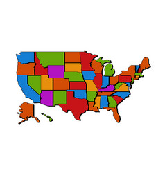 usa map with states blank map united vector image