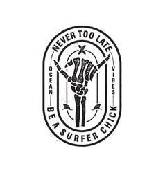 Vintage surf logo print design with skeleton bones vector