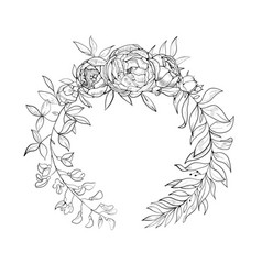 Vintage wreath of flowers and leaves vector
