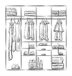 Wardrobe sketch Room interior with clothes vector image