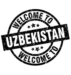 welcome to uzbekistan black stamp vector image