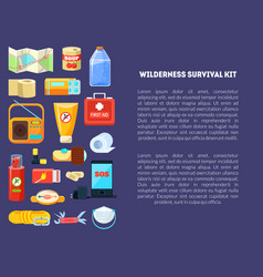 Wilderness survival kit banner template with place vector