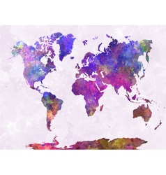 World map in watercolor warm purple vector