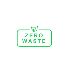 Zero waste text in rectangle with green line vector