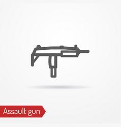compact submachine gun line icon vector image