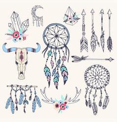 creative boho style frames mady ethnic feathers vector image