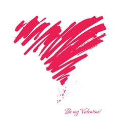 Drawn with a brush heart vector image vector image
