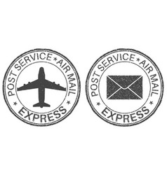 post service express postmarks with airplane and vector image