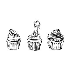 set of cute cupcakes and muffins vector image