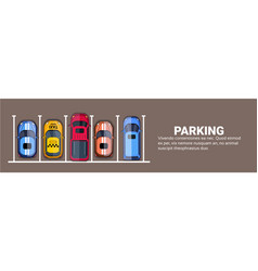 top view of city parking lots with set of vector image