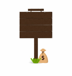 wooden signpost with grass and money bag under vector image vector image