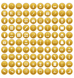 100 pharmacy icons set gold vector image vector image