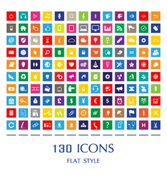130 Web Icons vector image