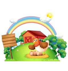 A chicken and her eggs near the empty wooden board vector image vector image