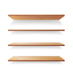 empty wood shelves template set isolated vector image