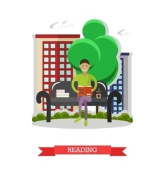 Man sitting on a bench in park reading book and vector