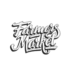 Farmers market hand lettering isolated on white vector image