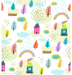 houses and landscape rural seamless pattern vector image vector image