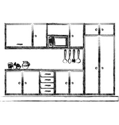 monochrome sketch of modern kitchen cabinets vector image vector image