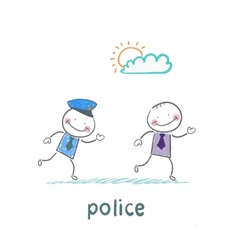 Police running after a criminal vector image vector image