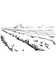 Sketching nature landscape fields vector