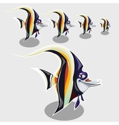Striped tropical fish with sly eye and smile vector image vector image