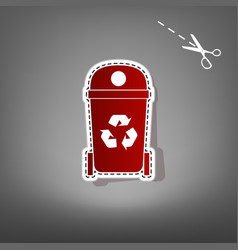 trashcan sign red icon with vector image