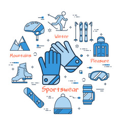 blue winter sportswear concept- gloves vector image vector image