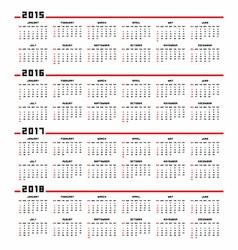 Calendar 2015 2016 2017 2018 vector image