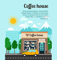 coffee house advertising banner vector image vector image