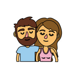 couple lover together with hairstyle design vector image vector image