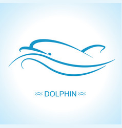 dolphin logo flat for design vector image