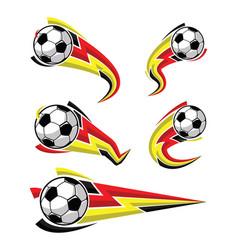 football black yellow red and soccer symbols set vector image