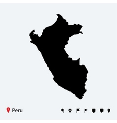High detailed map of Peru with navigation pins vector image vector image