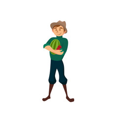 male farmer with watermelon gardener at work vector image