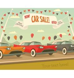 Retro car sale vector image vector image