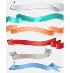 set of satin ribbons in different colors vector image vector image